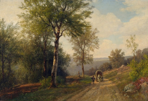 Hermann_Pohle_Bewaldete_Landschaft_mit_Pferdekarren