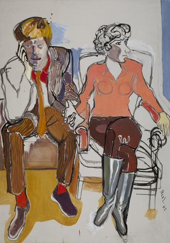 Alice-Neel-painting-RED-GROOMS-and-MIMI-GROSS--1967-oil-on-canvas