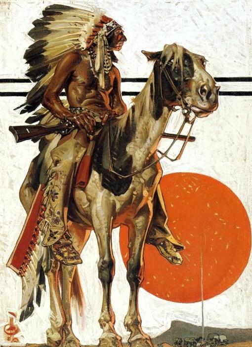 Joseph Leyendecker1923_lyendecker_indianwithcampfirebelow