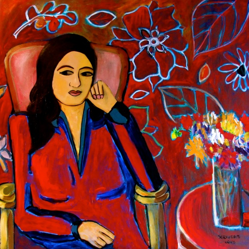 Matisse inspired - 'The Red Room' Acrylic on canvas – Katherine Scrivens Eje