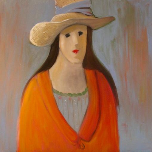 'Woman in Orange Coat' oil on canvas – Katherine Scrivens