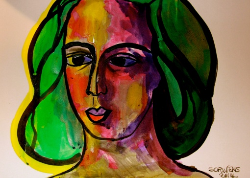 'Young Girl in the Sun' ink on paper – Katherine Scrivens