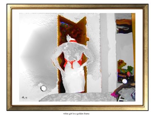 white girl in a golden frame