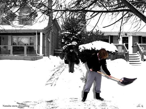 Natasha shovelling