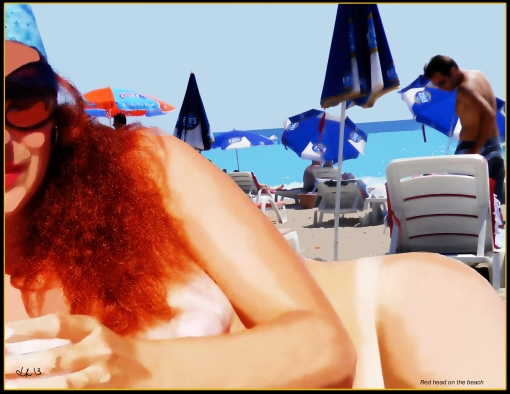 red-head-on-the-beach