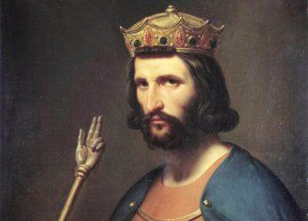 """""""Portrait de Hugues Capet (941-996) roi de france en 987"""" Il tient dans la main un globe et un sceptre, symboles de pouvoir. Peinture de Charles de Steuben (1788-1856) 19eme siecle Dim. 0,91x0,74 m. Versailles, musee du chateau"""