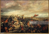 C9453 , Eugene Delacroix (1798-1863), French School. The Battle of Poitiers, or King Jean at the Battle of Poitiers, September 19th, 1356. 1830. Oil on canvas, 1.14 x 1.46 m. Paris, musee du Louvre. , Delacroix Eugene ( 1798-1863 ) Ec. Fr. , Bataille de Poitiers ou le roi Jean a la bataille de Poitiers le 19 septembre 1356 ( huile sur toile 1;14 x 1;46 ) , Paris . Musee Du Louvre