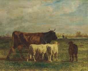 constant_troyon_une_vache_brune_et_deux_moutons_en_marche_dans_un_prai_d5728909g