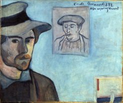 Émile_Bernard_1888_-_Self-portrait_with_Gauguin_portrait_for_Vincent