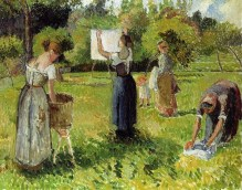 la Camille Pissarro (French artist, 1830-1903) Laundresses at Eragny
