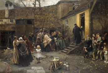 CH827949 An Arrest; Eine Verhaftung, 1881 (oil on canvas) by Bokelman, Christian Ludwig (1844-94); 97x140 cm; Private Collection; (add.info.: An Arrest; Eine Verhaftung. Christian Ludwig Bokelmann (1844-1894). Oil on canvas. Signed and dated 1881. 97 x 140cm.); Photo © Christie's Images; German, out of copyright