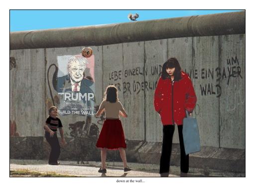 down at the wall