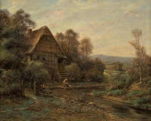 Lempertz-974-66-Paintings-15th--19th-C-Anton-Burger-LANDSCAPE-WITH-FRAME-HOUS