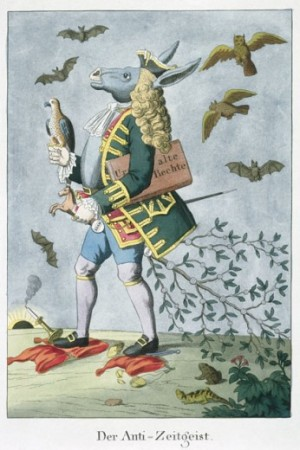 The Anti-Zeitgeist (Spirit of the Times) (Caricature On Nobility) 1819 Johann Michael Voltz (1784-1858 German) Colored Etching Collection of Archiv for Kunst & Geschichte, Berlin, Germany