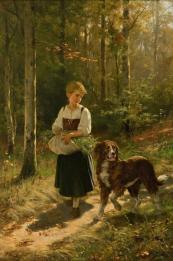 "Salentin, Hubert. German painter, 1822–1910. ""Die Kräutersammlerin"" (Girl collecting herbs), 1883. Oil on canvas, 77 × 52cm. Private Collection."