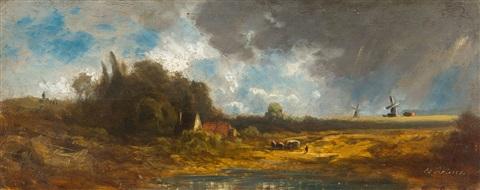 eduard-schleich-the-elder-landschaft-mit-windmühlen