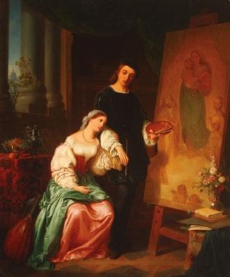 heinrich-franz-gaudenz-von-rustige-raphael-with-the-donna-velata-while-painting-the-sistine-madonna