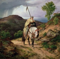 INF85742 The Return of the Crusader, 1835 (oil on canvas) by Lessing, Carl Friedrich (1808-80); Rheinisches Landesmuseum, Bonn, Germany; Interfoto; German, out of copyright