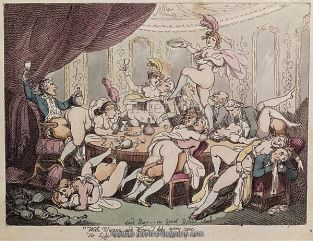 "people, love, sex and eroticism, sexual intercourse, ""Lord Barr--res Great Bottle Club"", drawing, by Thomas Rowlandson (1756 - 1827), Victoria and Albert Museum, London,"