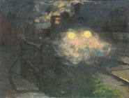 Pleuer_Dampf_auslassende_Lokomotive_bei_Nacht