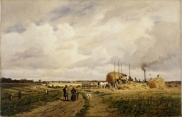 HIS403915 Use of the first threshing machine at Lankow, Schwerin, 1882 (oil on canvas) by Malchin, Carl (1838-1923); 60x94 cm; Deutsches Historisches Museum, Berlin, Germany; © DHM; German, it is possible that some works by this artist may be protected by third party rights in some territories possible copyright restrictions apply, consult national copyright laws