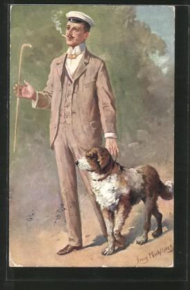 Kuenstler-AK-Georg-Muehlberg-Ein-flotter-Bursche-Student-mit-Hund-Pfeife-und-Spazierstock