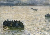 XKH147943 Shipyard Workers Returning Home on the Elbe, 1894 (oil on canvas) by Kalckreuth, Leopold Karl Walter von (1855-1928); 70x100 cm; Hamburger Kunsthalle, Hamburg, Germany; German, out of copyright