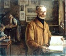 XKH191699 Friedrich Chrysander (1826-1901), 1901 (oil on canvas) by Kalckreuth, Leopold Karl Walter von (1855-1928); 102x119.5 cm; Hamburger Kunsthalle, Hamburg, Germany; German, out of copyright