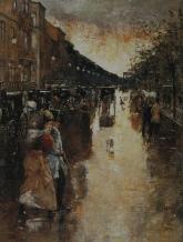 Lesser_Ury_1888_Unter_den_Linden_nach_dem_Regen