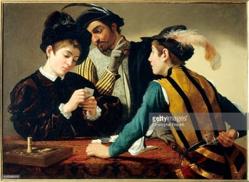 C9126 , Michelangelo Merisi, called Caravaggio (1573-1610), Italian School. The Cardsharps. Circa 1595. Oil on canvas, 0.94 x 1.30 m. Fort Worth, Kimbell Art Museum. , Caravage Merisi ( 1573-1610 ) Ec. Ital. , Le tricheur ; 1594 ( huile sur toile 0;94 x 1;30 ) , Fort Worth . Kimbell Art Museum